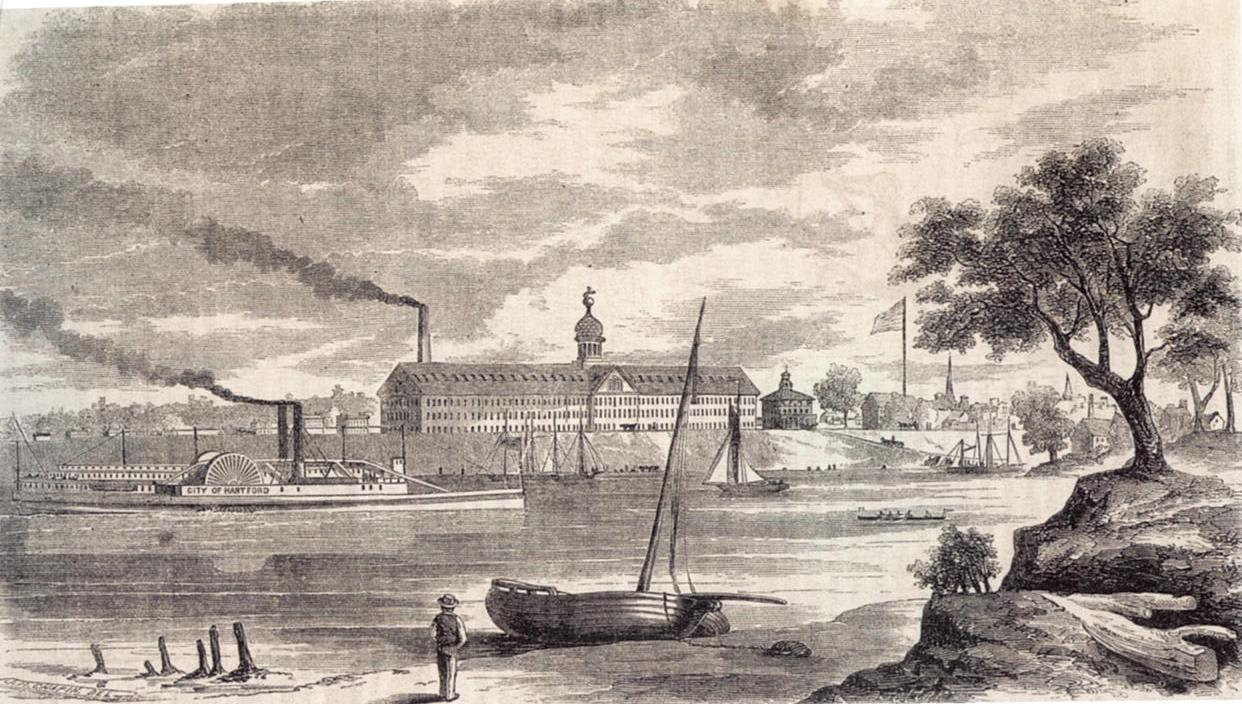 Armory of the Colt's Patent Fire-Arms Manufacturing Company in Hartford, from across the Connecticut River.