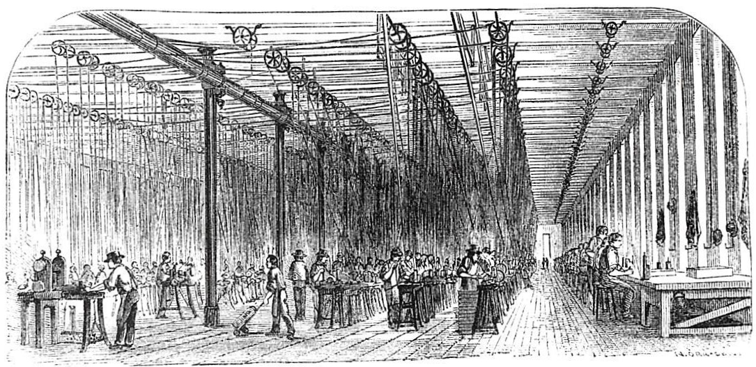 Drawing: The second floor of Colt's East Armory, showing dozens of machine tools and operators, powered by overhead pulley, belts, and shafting.
