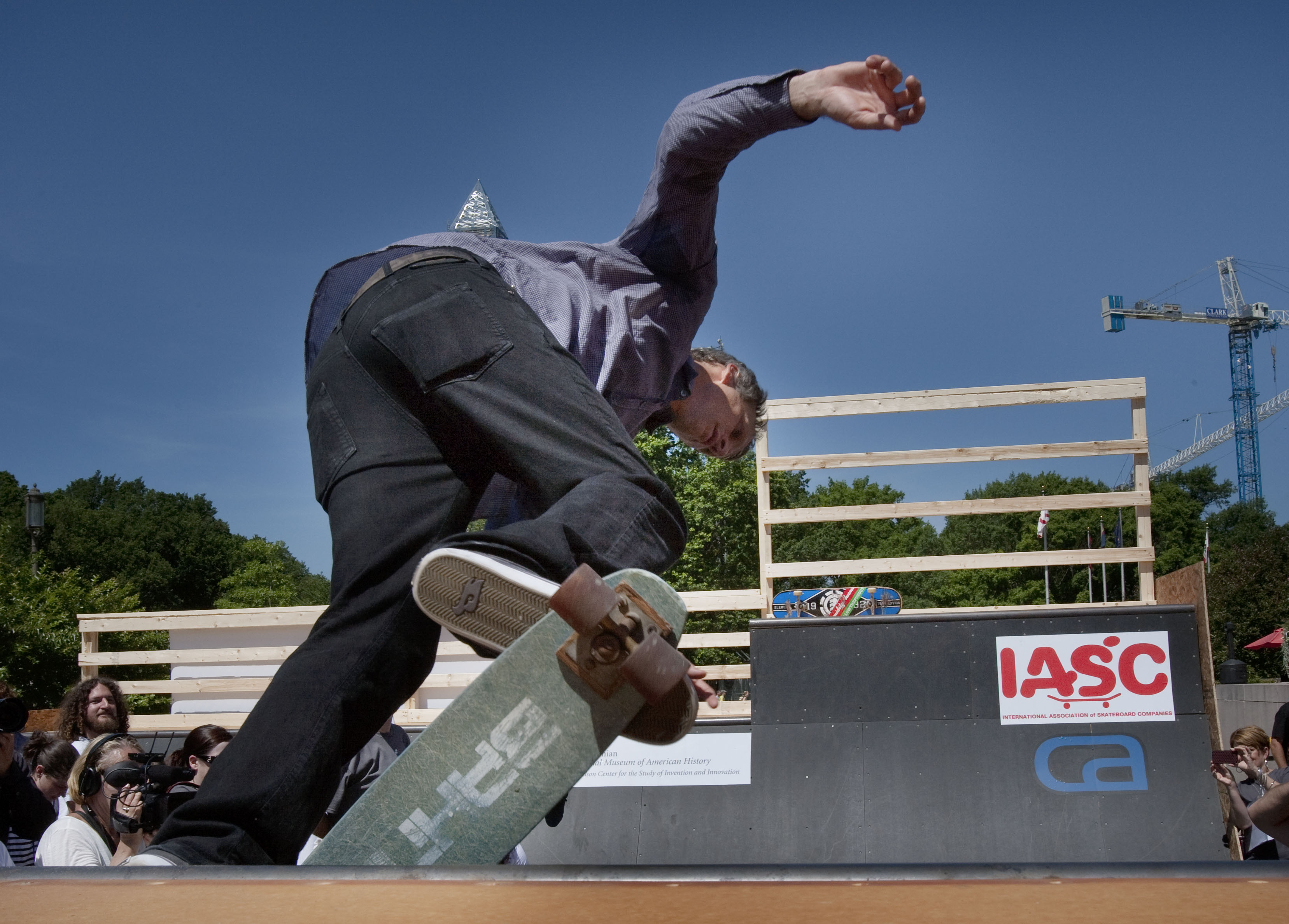 Tony Hawk takes a last ride on his first skateboard, given to him by his brother, Steve, with whom he donated it to the Smithsonian's collections.
