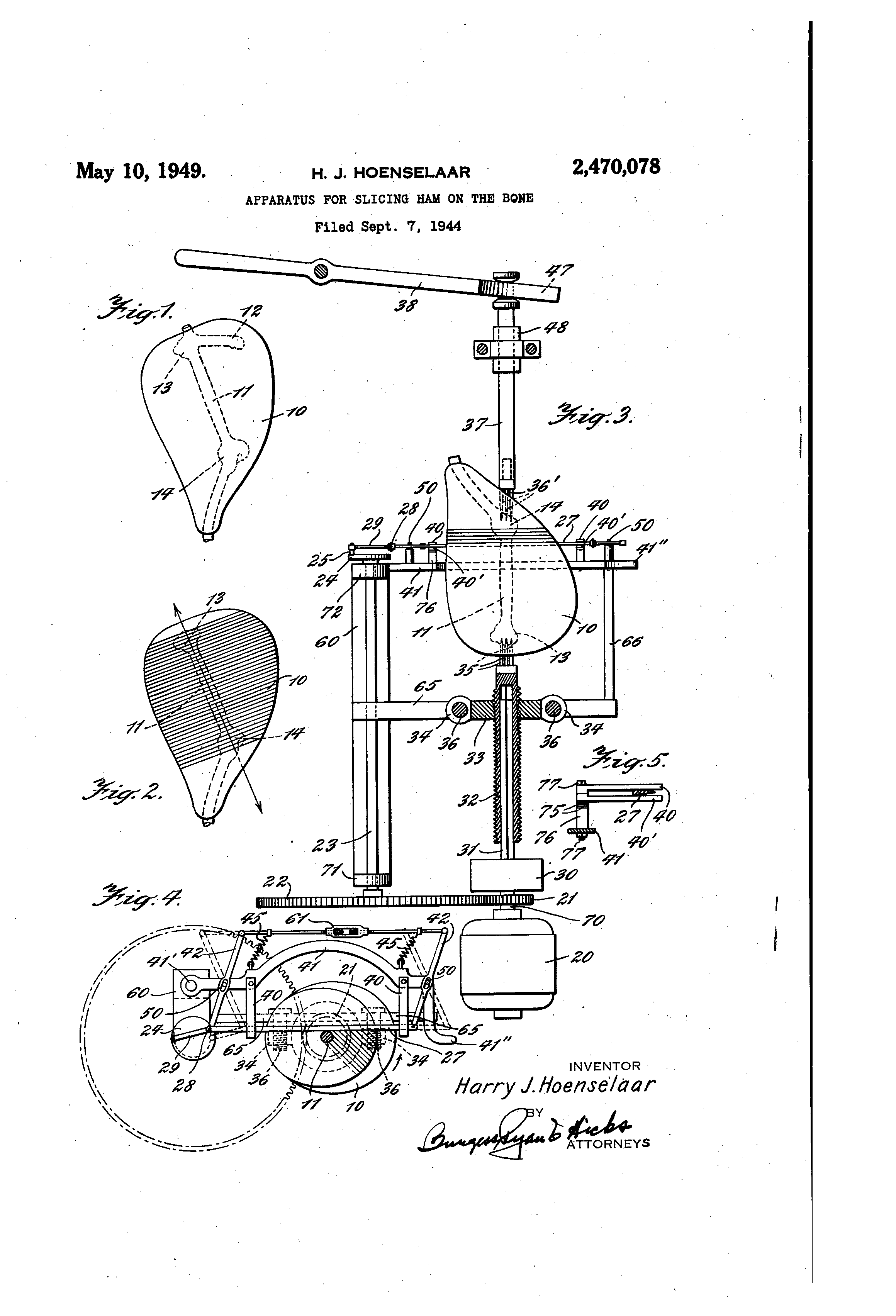 """Patent drawing for """"a device to slice ham on the bone"""" by Harry Hoenselaar."""