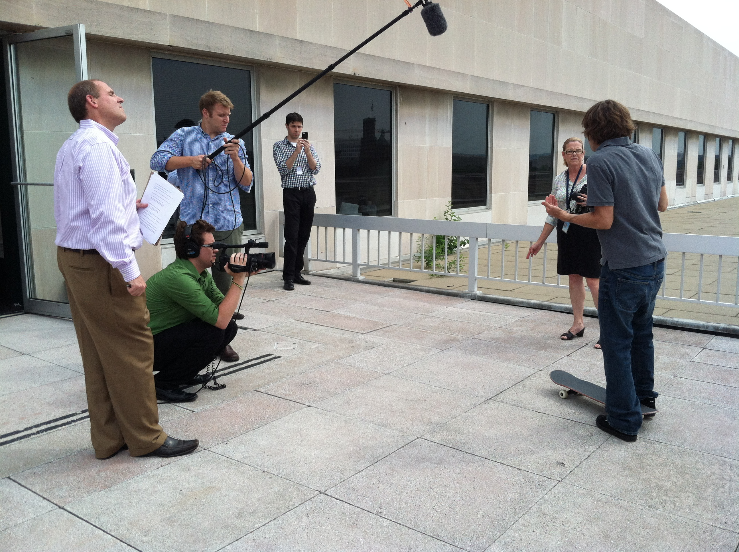 Kevin Borow mans the camera at the Rodney Mullen interview.