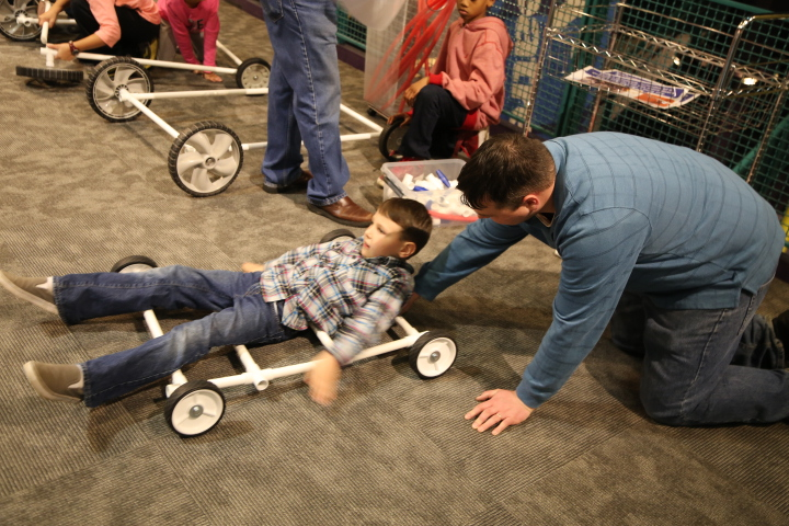 Dad and son work together to prototype a new car at Invent-A-Vehicle