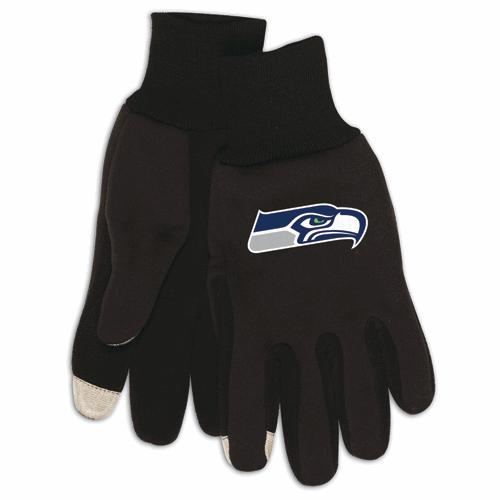 Touchscreen gloves with Seattle Seahawk logo