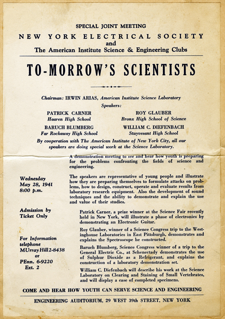 To-Morrow's Scientists flyer for a meeting of the New York Electrical Society and the American Institute Science and Engineering Clubs on Wednesday 28 May 1941. Speakers: Patrick Carner, Roy Gluber, Baruch Blumberg, William Diefenbach.