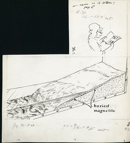 Sketches of a woman reading and of a cross section of a shore