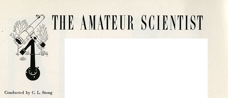 """Text reading """"The Amateur Scientist,"""" with a drawing of a telescope"""