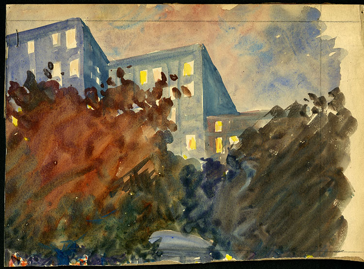 Abstract painting of 3 buildings with trees in front
