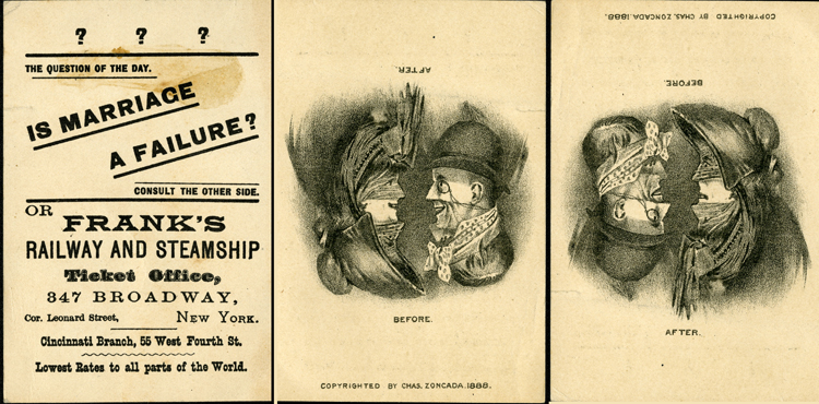 """Trade card, Frank's Railway and Steamship of New York City, """"Is marriage a failure?"""" 1888"""