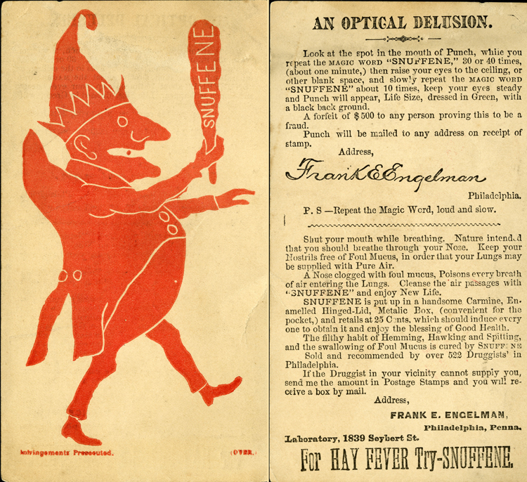 Trade card for Snuffene, illustrated with Punch figure, undated