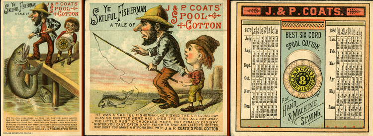 "Trade card for J. & P. Coats, reading ""Ye Skilful Fisherman"""