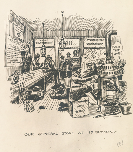 Cartoon drawing of men sitting around an old-time general store. Most of them are named and there are signs on some of the objects. For example, one man sits on a box labeled Worthington Water Meters.