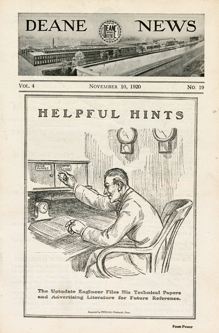 """Deane News front page, 10 November 1920, with a drawing of a clearing his desk, with the caption, """"The Uptodate Engineer Files His Technical Papers and Advertising Literature for Future Reference."""""""