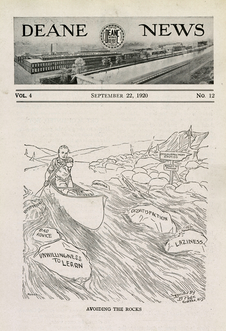 """Deane News front page, 22 September 1920, with a drawing of a man rowing a canoe through the """"Discouragement Rapids"""" with rocks labeled indifference, bad advice, unwillingness to learn, dissatisfaction, and laziness."""
