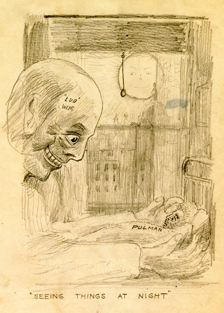 Drawing depicting an oversized man with a skull-like face gripping a small, frightened man in his bed.