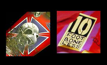 Detail: stickers on Tony Hawk skateboard