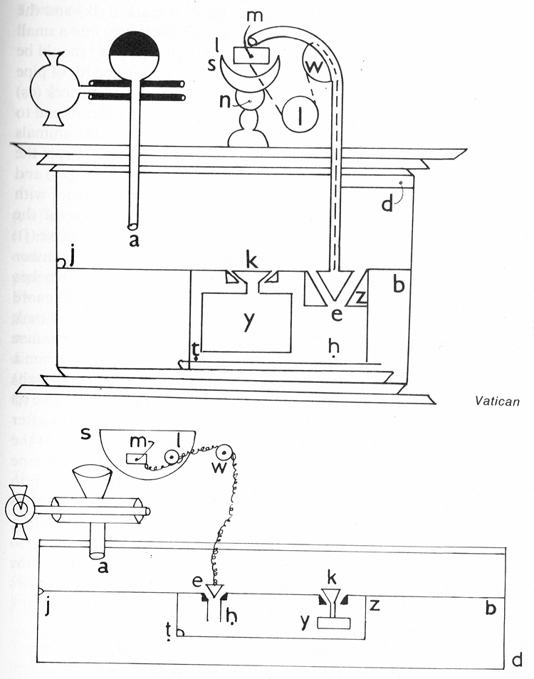 Line drawing of inner workings of a mechanical drinking bull