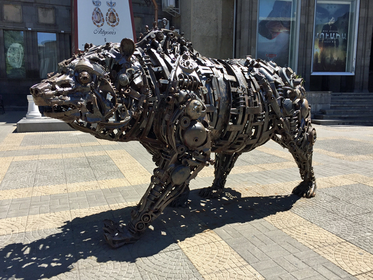 Bear sculpture in Yerevan, Armenia, made of recycled metal parts, by Ara Alekyan