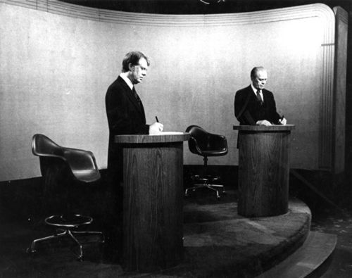 Photograph of Jimmy Carter and Gerald Ford from the 1976 televised debates.