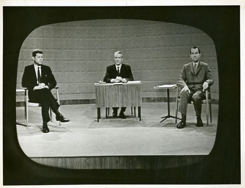 Photograph of John F. Kennedy and Richard M. Nixon from the televised debate held in Chicago on September 26, 1960, at the CBS studio.