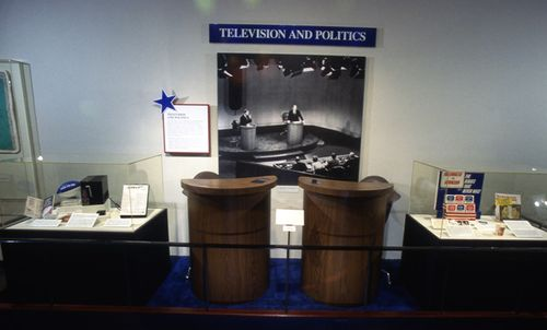 Photograph of podiums and chairs used at the 1976 debates, from the 1996 We Tthe People exhibition at NMAH.