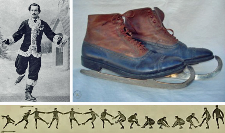 Composite image of Jackson Haines skating, a modern-style skate, and sequential images of Haines completing a spin