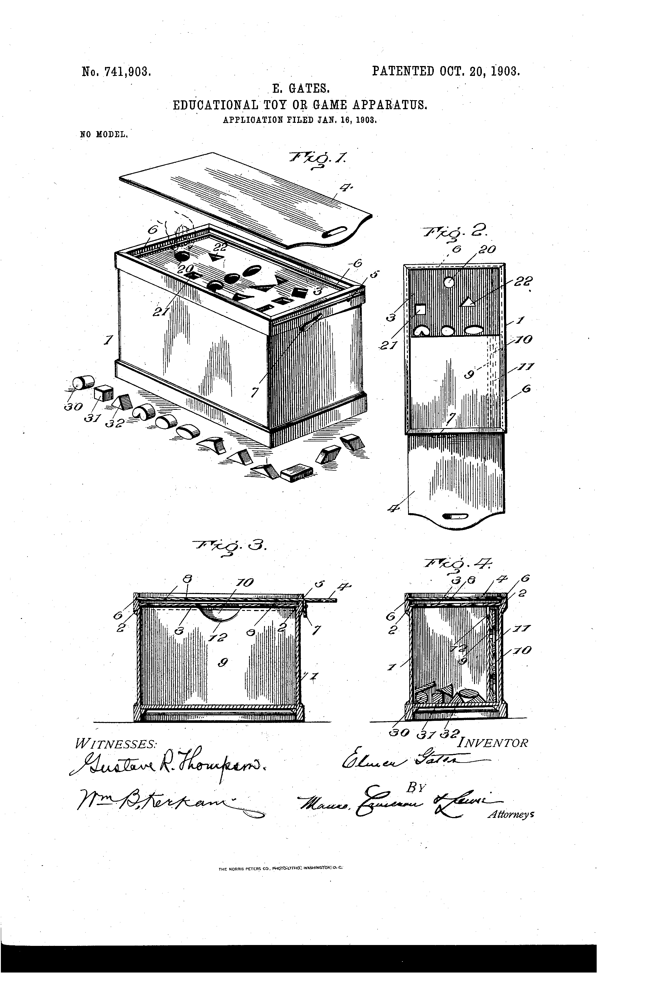 Patent drawing (US patent 741,903), educational toy or game apparatus, October 20, 1903.