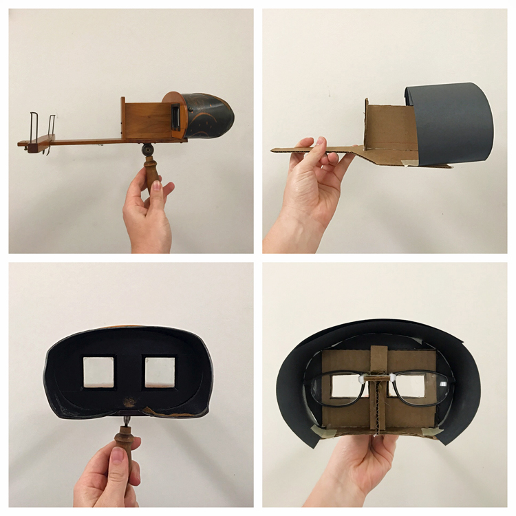 4 photos comparing a stereoscope with the homemade version. Top left and right: side views of stereoscope and homemade version, respectively. Bottom left and right: view of viewfinder for stereoscope and homemade version, respectively.
