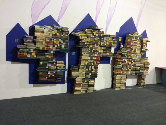 A book display greets visitors as they enter to the Art + Book Lab
