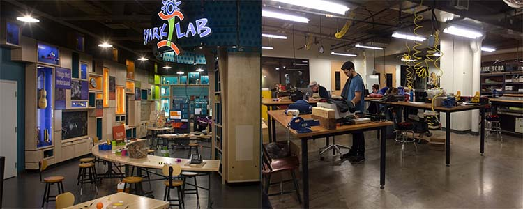Draper Spark!Lab at the National Museum of American History (left); TechShop Arlington