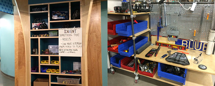 Open storage in both Spark!Lab (left) and TechShop makes tolls and materials accessible