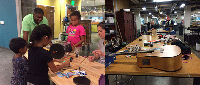 A family in Spark!Lab learns how to use the force of a gyroscope to make an object move (left); a TechShop member works on his guitar project.