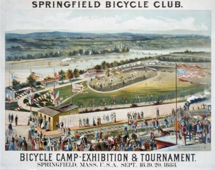 """""""Springfield Bicycle Club—Bicycle Camp—Exhibition and Tournament, Springfield, Mass, U.S.A., Sept. 18, 19, 20, 1883."""" Color lithograph by Milton Bradley and Co., Springfield, Massachusetts."""