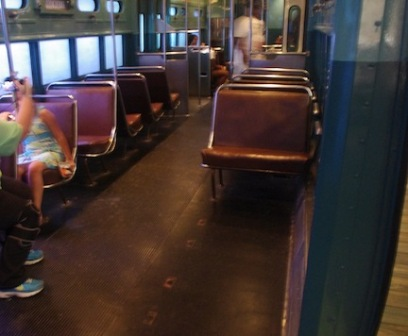 Interior of Chicago L Train on display in America on the Move