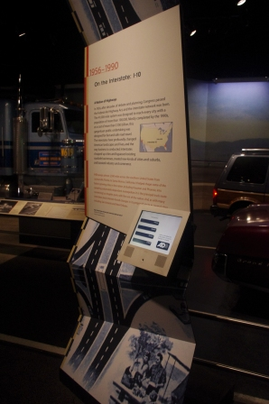 A kiosk in America on the Move, an exhibition at the National Museum of American History