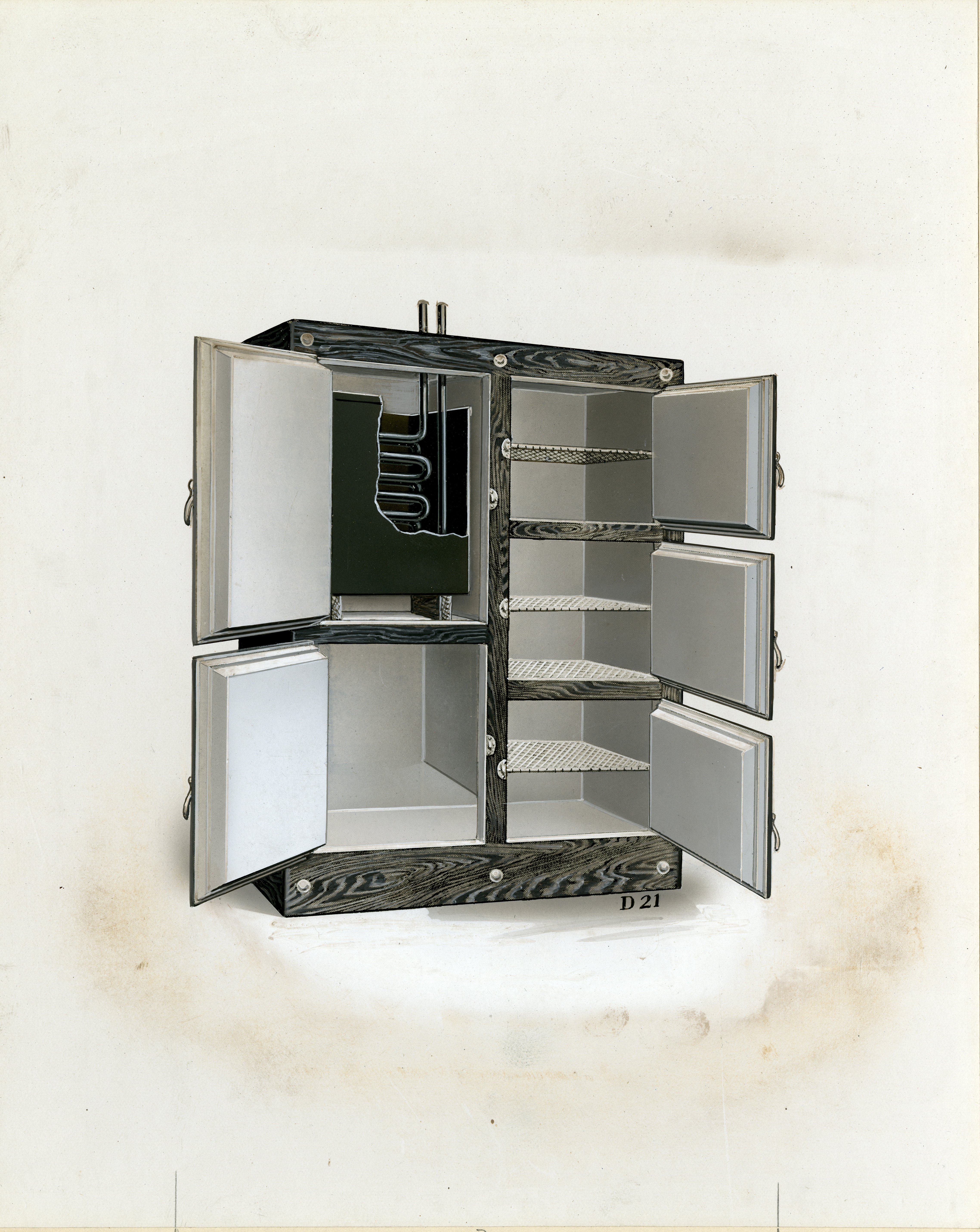 Early refrigerator, the familiar ice block compartment (upper left) replaced with a mechanical cooling unit, circa 1940s. (AC0293-0000017)