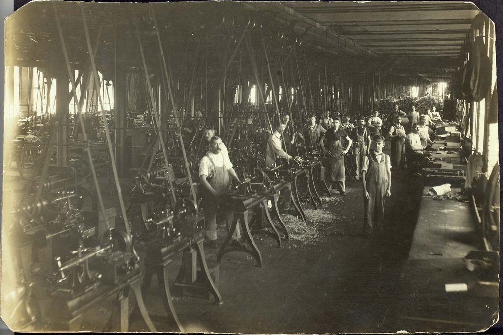 Colt employees on the shop floor, circa 1900