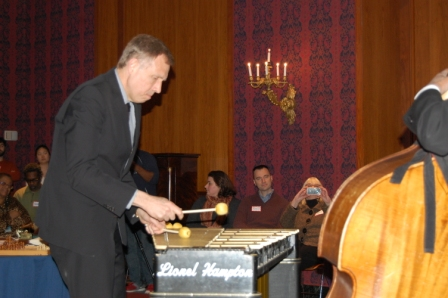Chuck Redd of the Smithsonian Jazz Masterworks Orchestra playing the vibraphone donated by Lionel Hampton.