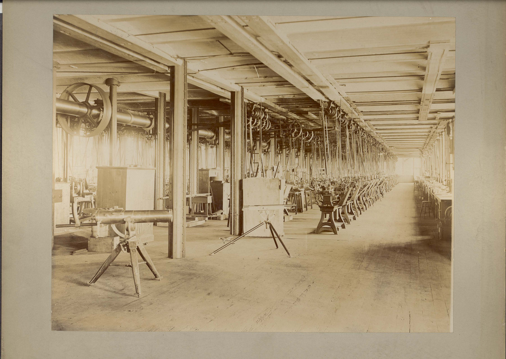 Inside Colt's East Armory, circa 1890. Courtesy of the CT State Library.