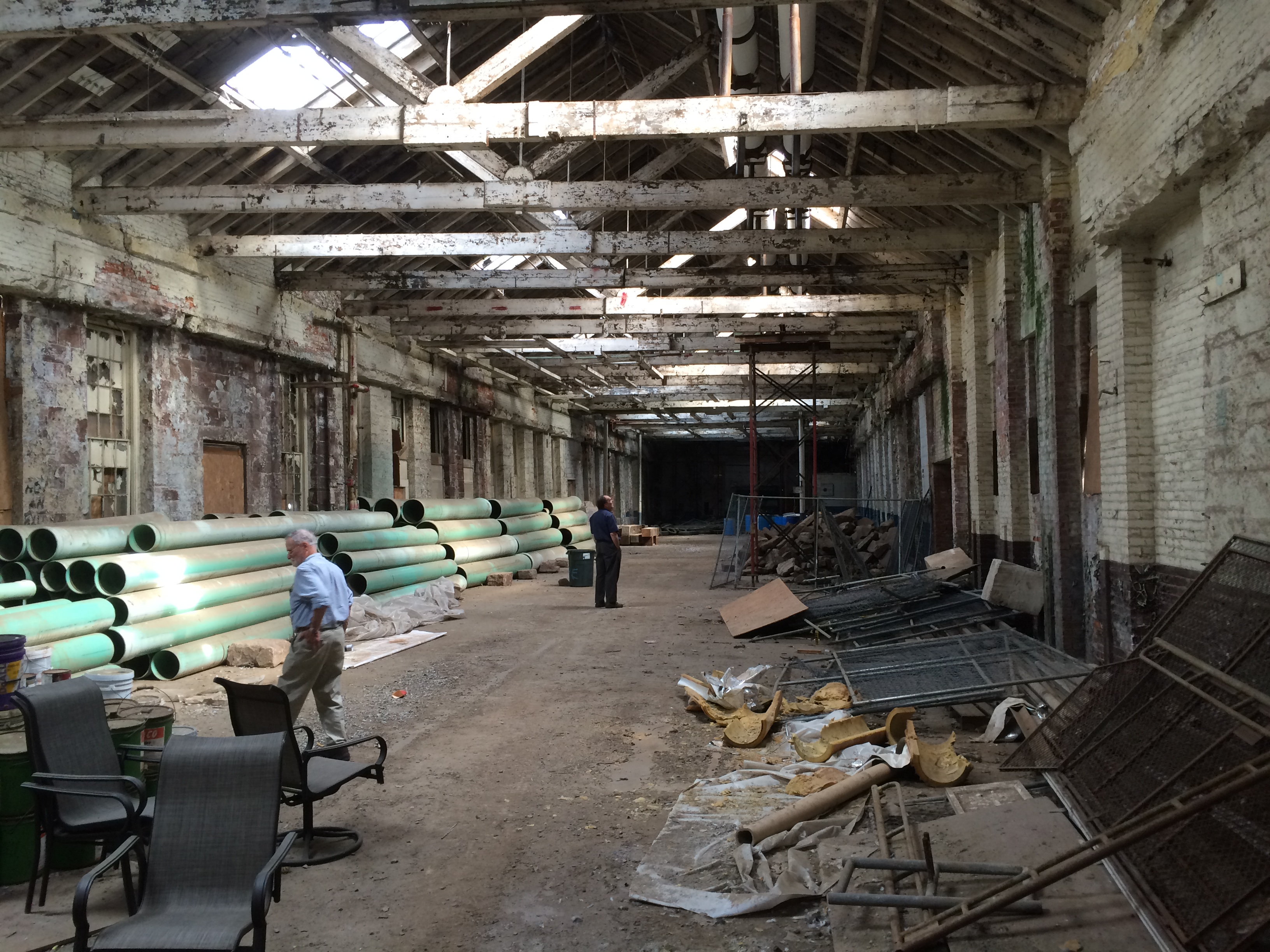 Inside the future home of the Coltsville National Park visitor's center. This building used to house the Colt foundry. Photo by Eric Hintz.