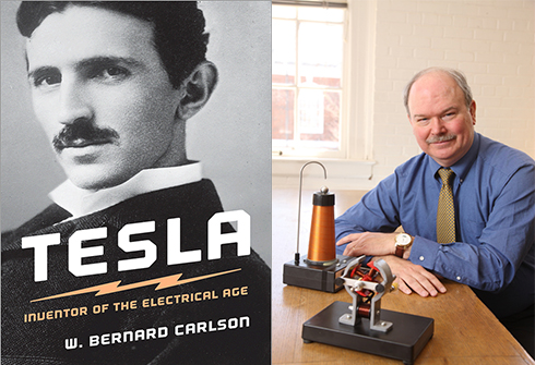 Left: Tesla book cover. Right: Author Bernie Carlson