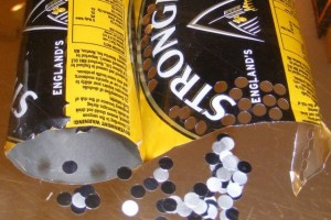 "Making ""sequins"" from Strongbow aluminum cans"