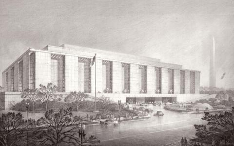 Rendering of the Museum of History and Technology by Hugh Ferriss, architect and the era's foremost delineator of buildings.