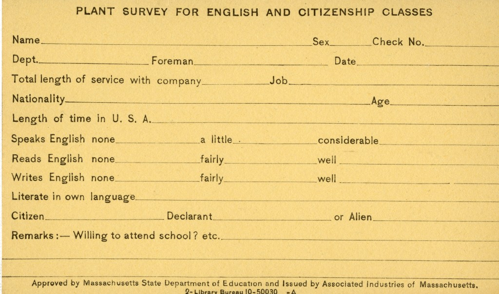 Survey for English and American Citizenship Classes, 1921.