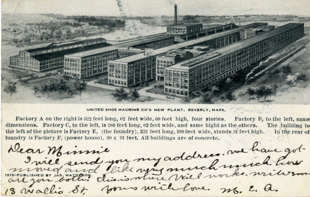 Postcard of the United Shoe Machinery new plant, Beverly, MA, 1907.
