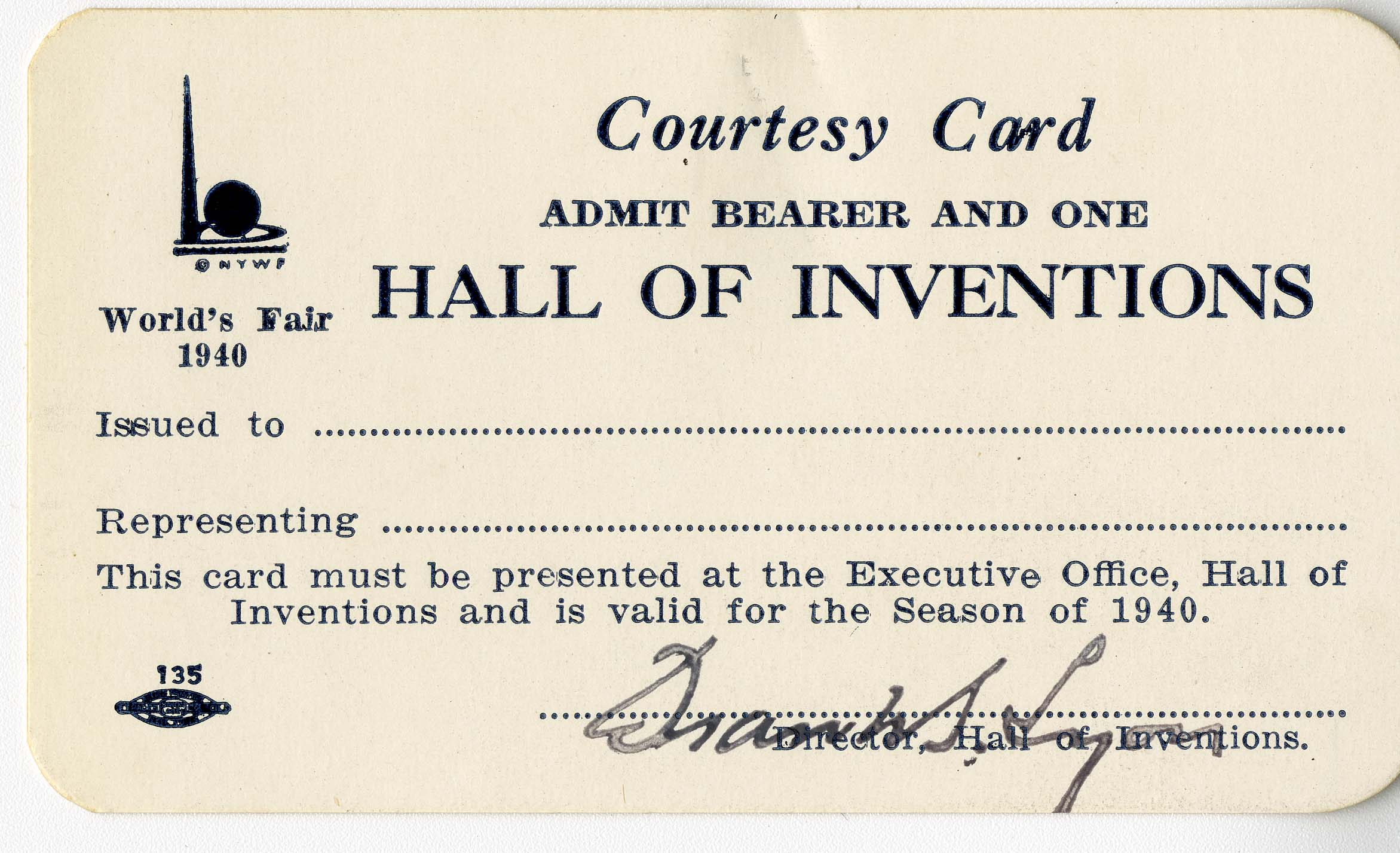 Courtesy card, Hall of Inventions, New York World's Fair, 1940 (AC0560-0000047)