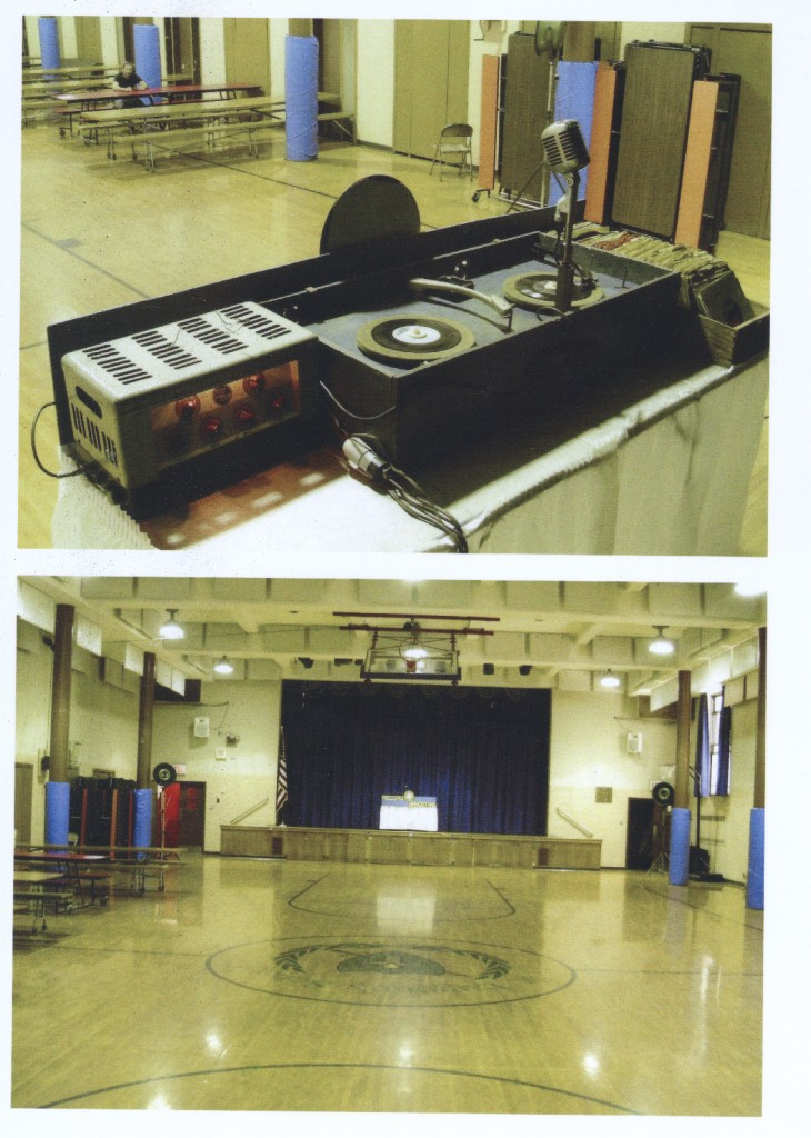 DJ set up in a school gymnasium