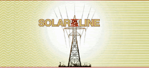 Graphic logo for Solar on the Line exhibition showing high-tension electrical tower and wire with sunlight shining behind