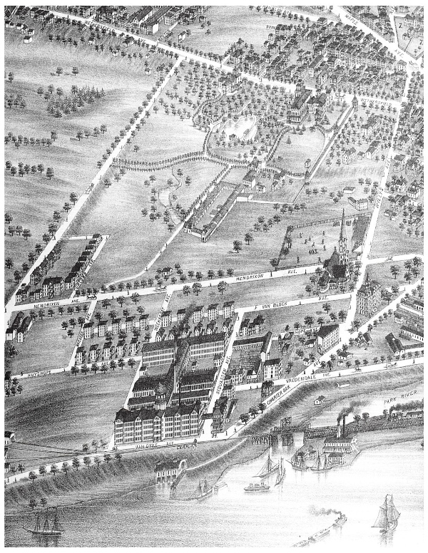 """A bird's-eye view of """"Coltsville,"""" from an 1877 lithograph, an industrial village along the Connecticut River in Hartford included Samuel Colt's famous onion-domed factory (foreground), and behind it, workers' housing, a baseball field, and a church."""