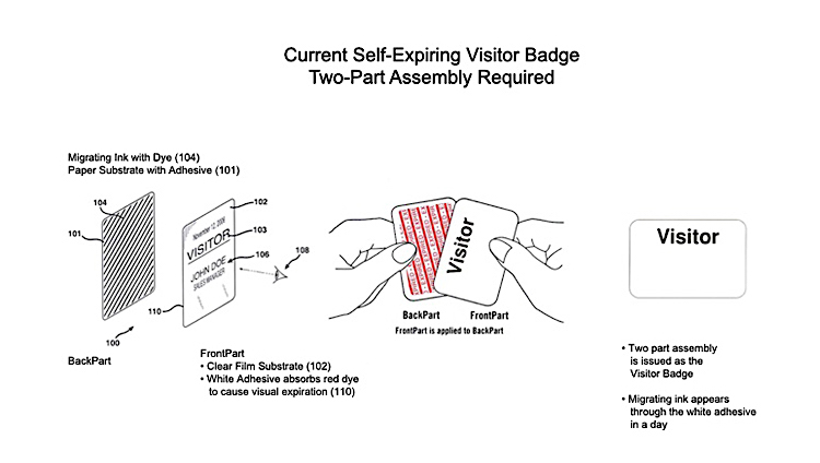 Diagram showing two-part assembly of the self-expiring visitor badge