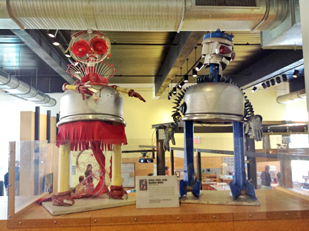 """Throughout the Children's Museum of Pittsburgh, art and technology meet in whimsical ways, as this sculpture of """"King Steel and Queen Iron"""" by Devon Smith (2001) illustrates. Photo by Joyce Bedi"""